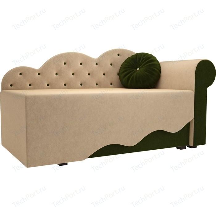 Детская кровать АртМебель Тедди-1 микровельвет бежевый/зеленый правый угол