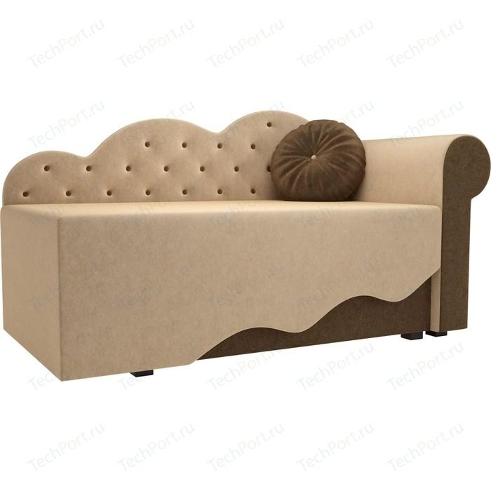 Детская кровать АртМебель Тедди-1 микровельвет бежевый/коричневый правый угол