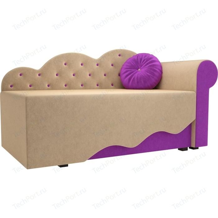 Детская кровать АртМебель Тедди-1 микровельвет бежевый/фиолетовый правый угол