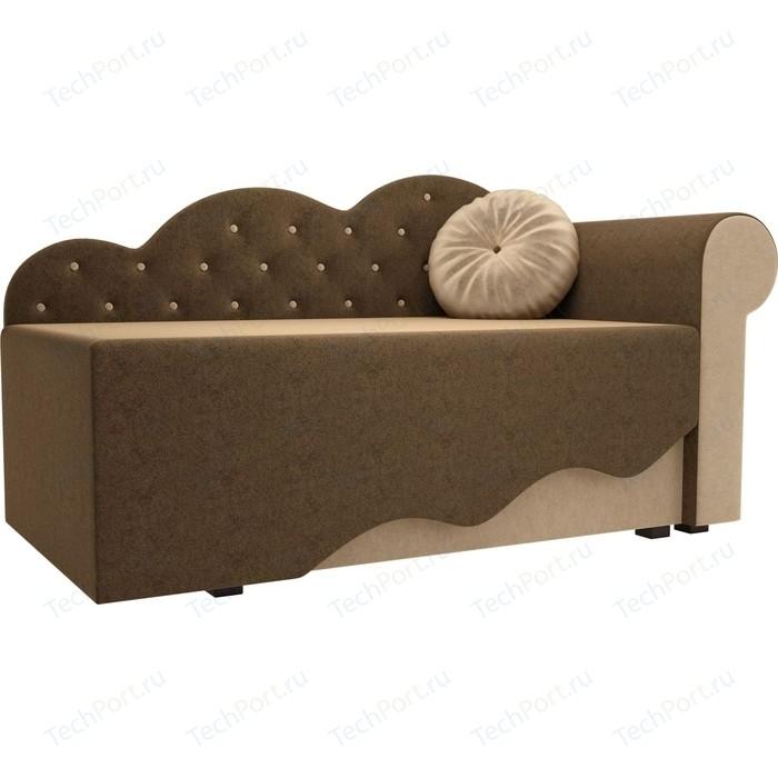 Детская кровать АртМебель Тедди-1 микровельвет коричневый/бежевый правый угол