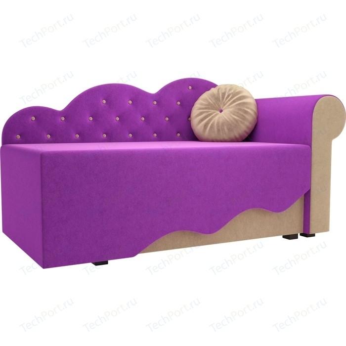 Детская кровать АртМебель Тедди-1 микровельвет фиолетовый/бежевый правый угол