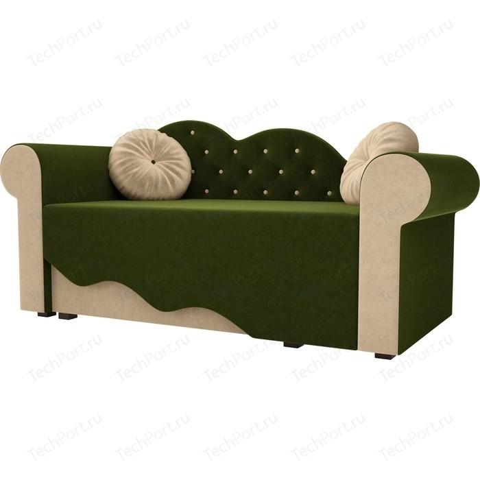 Детская кровать АртМебель Тедди-2 микровельвет зеленый/бежевый левый угол