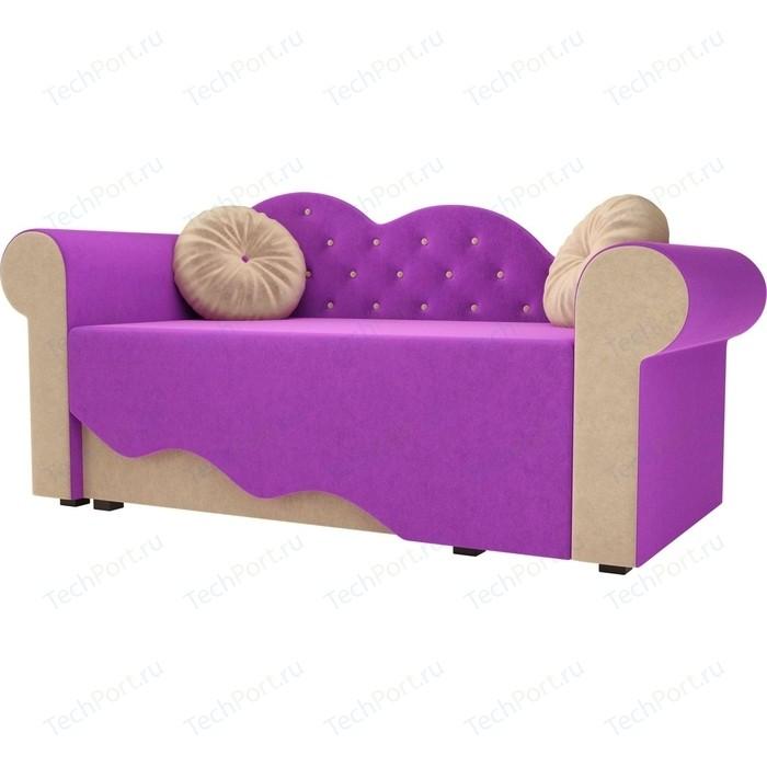 Детская кровать АртМебель Тедди-2 микровельвет фиолетовый/бежевый левый угол детская кровать артмебель тедди 1 микровельвет фиолетовый черный левый угол