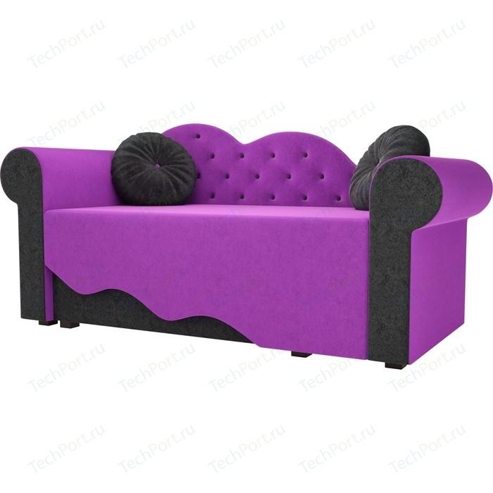 Детская кровать АртМебель Тедди-2 микровельвет фиолетовый/черный левый угол детская кровать артмебель тедди 1 микровельвет фиолетовый черный левый угол