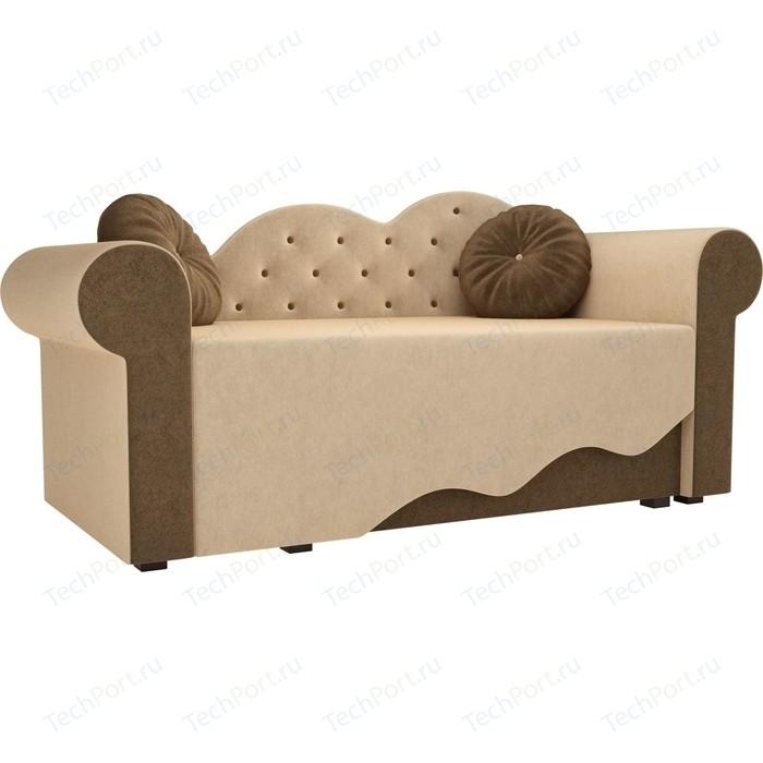 Детская кровать АртМебель Тедди-2 микровельвет бежевый/коричневый правый угол