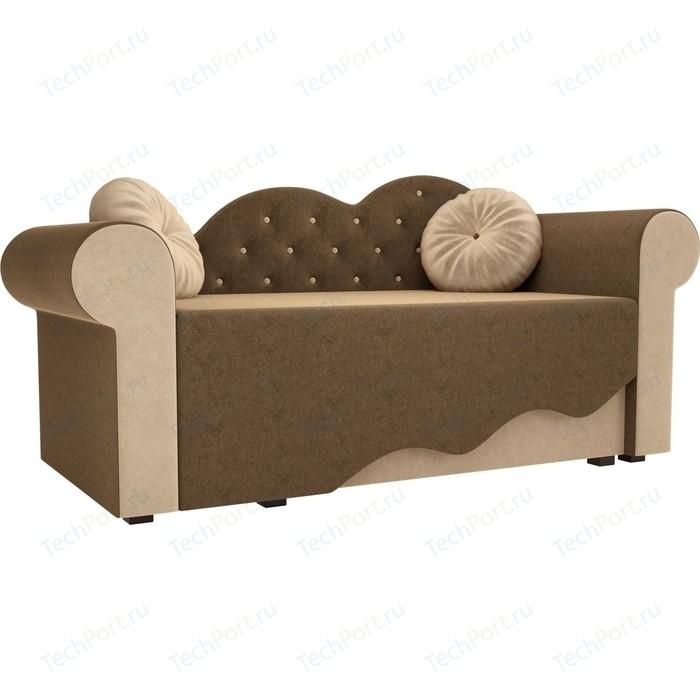 Детская кровать АртМебель Тедди-2 микровельвет коричневый/бежевый правый угол