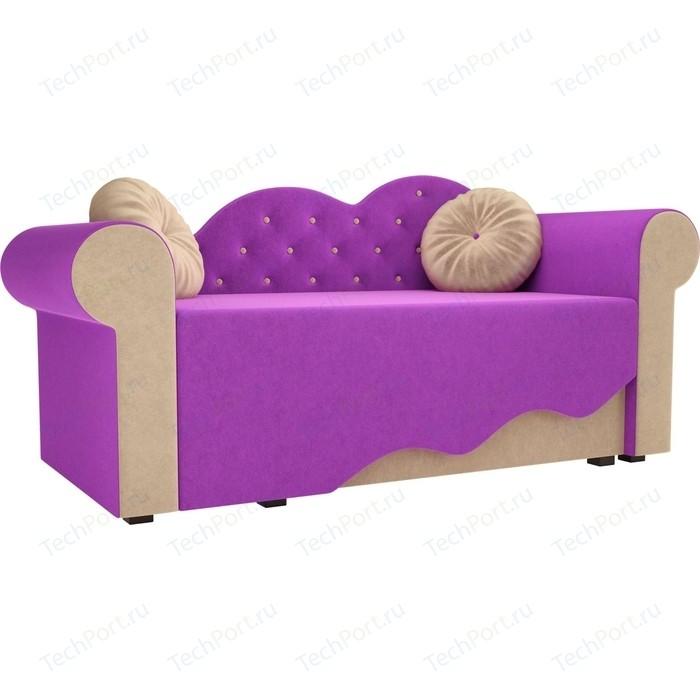 Детская кровать АртМебель Тедди-2 микровельвет фиолетовый/бежевый правый угол