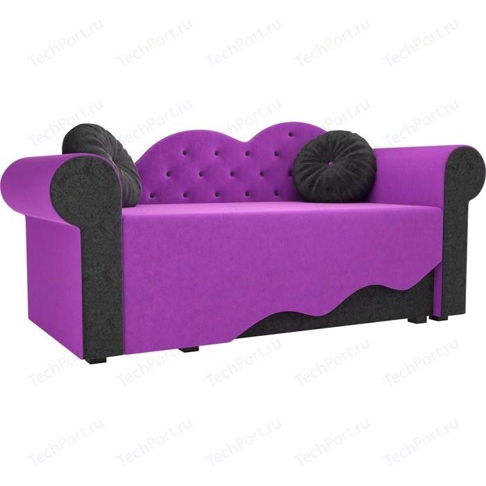 Детская кровать АртМебель Тедди-2 микровельвет фиолетовый/черный правый угол детская кровать артмебель тедди 1 микровельвет фиолетовый черный левый угол