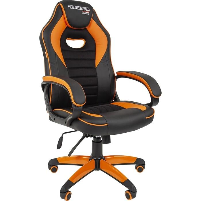 Офисноекресло Chairman game 16 экопремиум черный/оранжевый