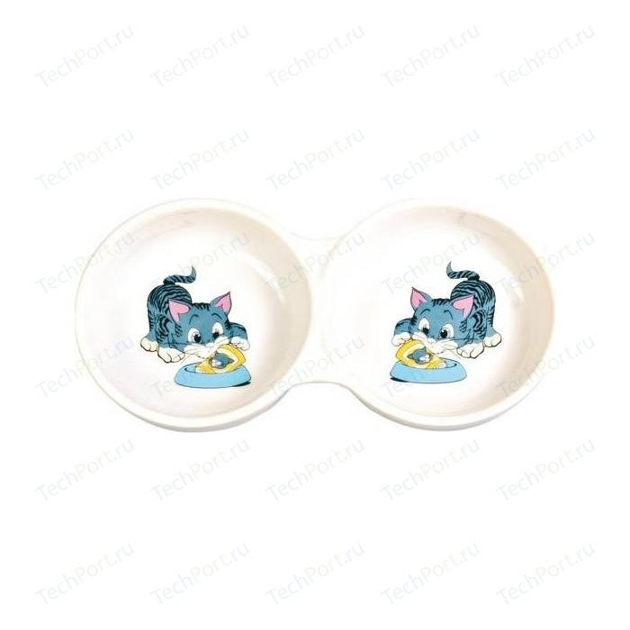 Миска TRIXIE керамическая двойная для кошек 2*150мл*ф11см (4014)