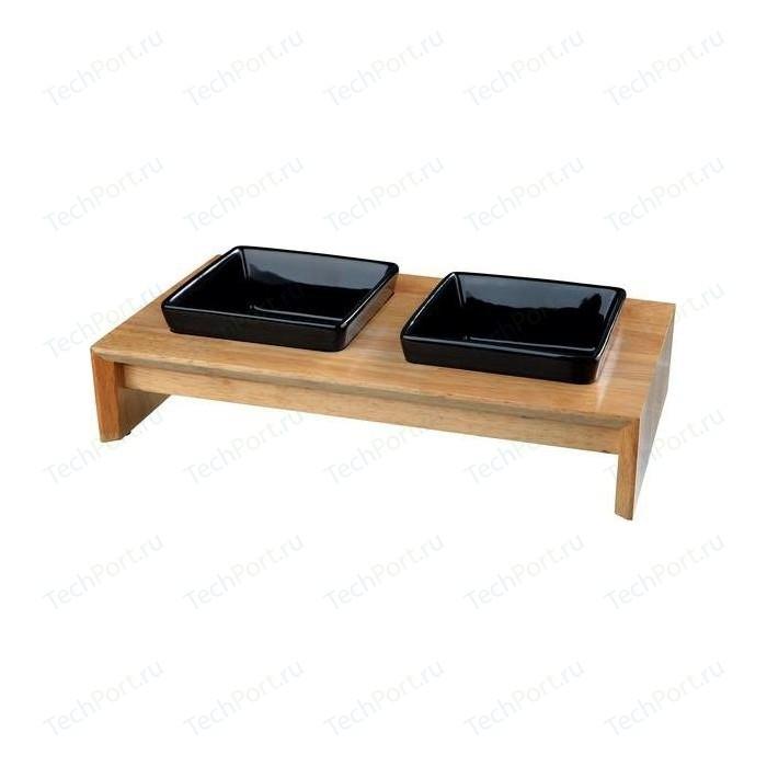 Миска TRIXIE керамическая в деревянной подставке 200мл*28x5x15 см для животных (24820)
