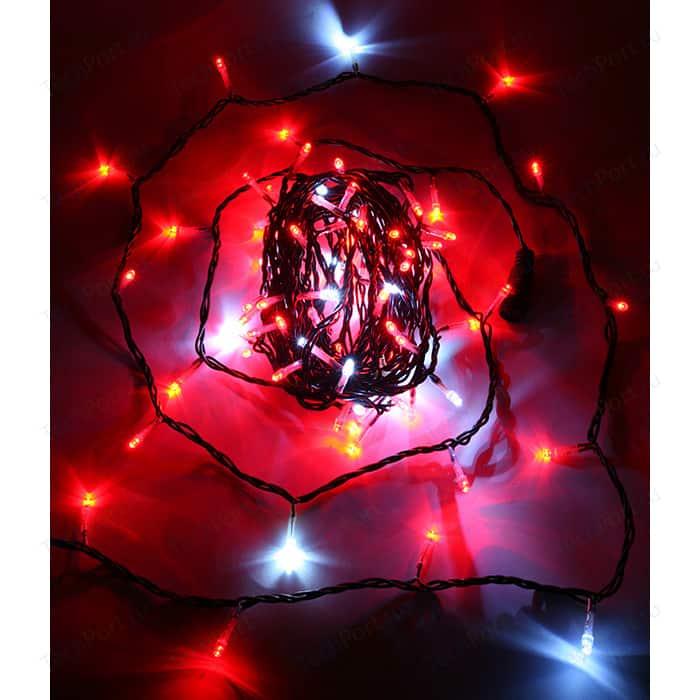 Light Светодиодная нить с белым бликующим диодом 10м, 220-230V, черн. пр., красный