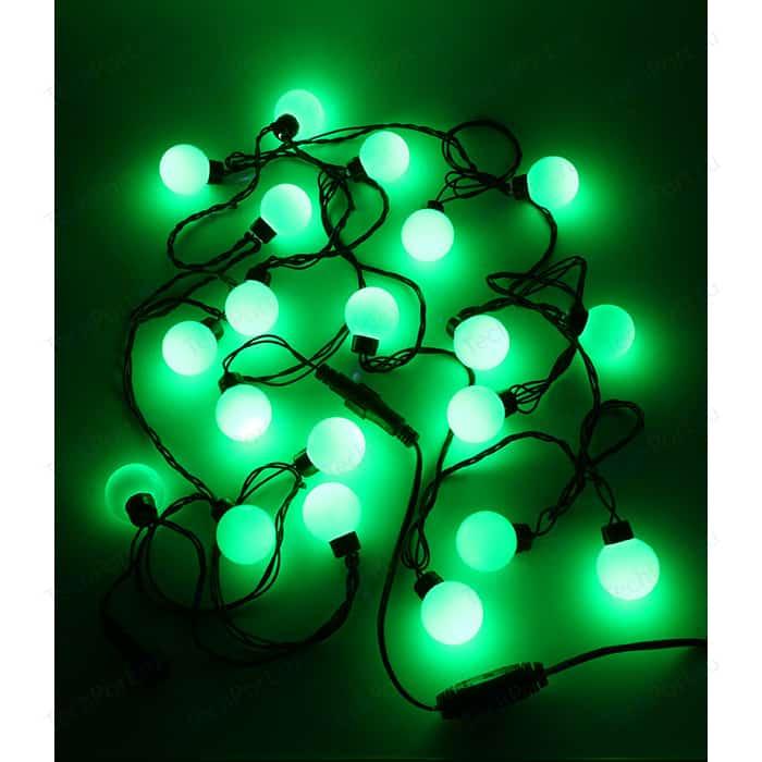 Гирлянда светодиодная Light Шарики-40мм 5м, 220-230V, черн. пр. зеленый