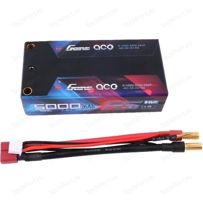 Аккумулятор Gens Ace Li-Po HV - 7.6V 5000mAh 100C (2S2P, Black HardCase) - GA-B-100C-5000-2S2P-HC-59-HV-RS