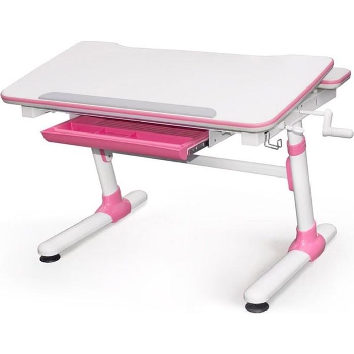 Парта Mealux EVO Duke EVO-501 pink столешница белая, ножки белые с розовыми накладками