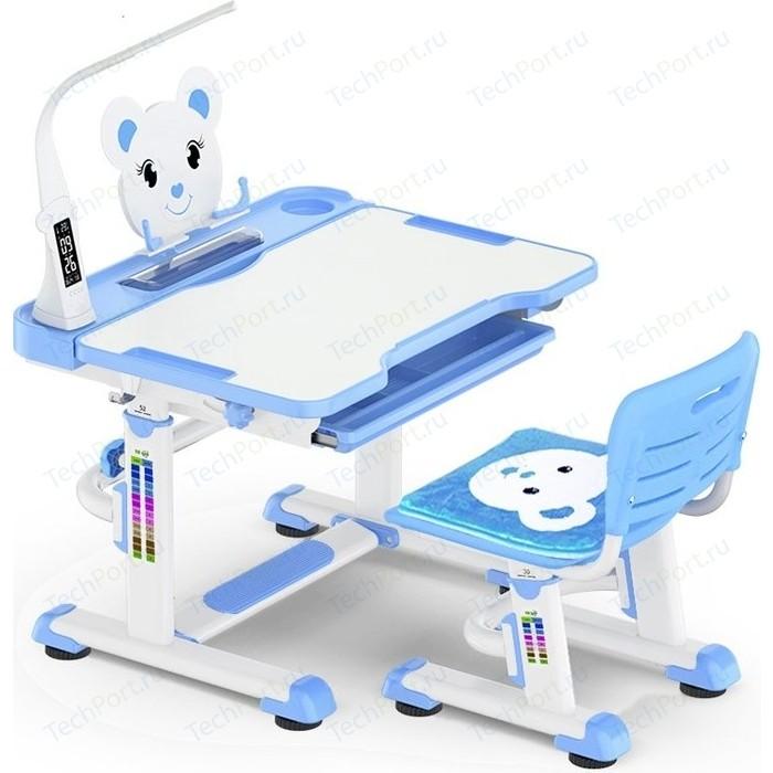 Комплект мебели (столик + стульчик) Mealux BD-04 Teddy blue с лампой столешница белая/пластик синий