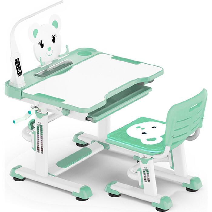 Комплект мебели (столик + стульчик) Mealux BD-04 Teddy green с лампой столешница белая/пластик зеленый