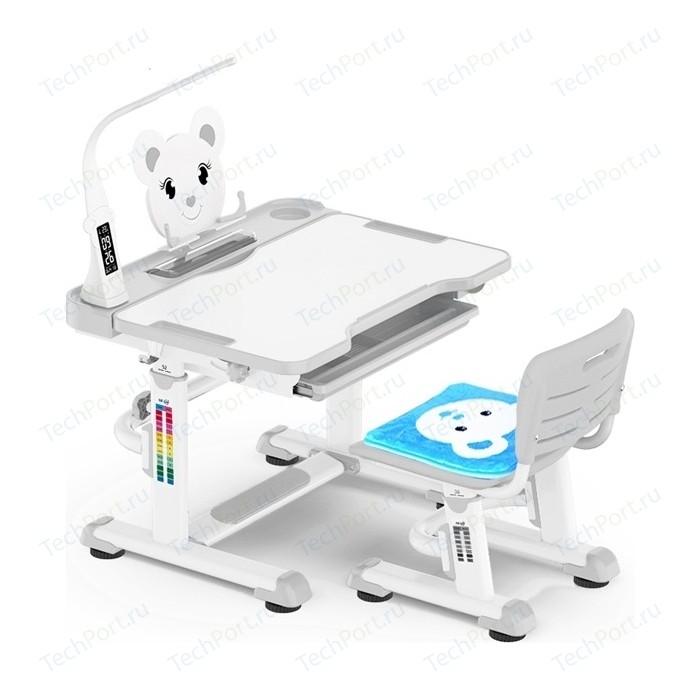 Комплект мебели (столик + стульчик) Mealux BD-04 Teddy grey с лампой столешница белая/пластик серый
