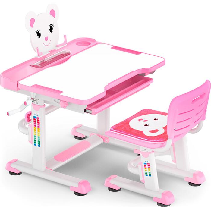 Комплект мебели (столик + стульчик) Mealux BD-04 XL Teddy pink столешница белая/пластик розовый