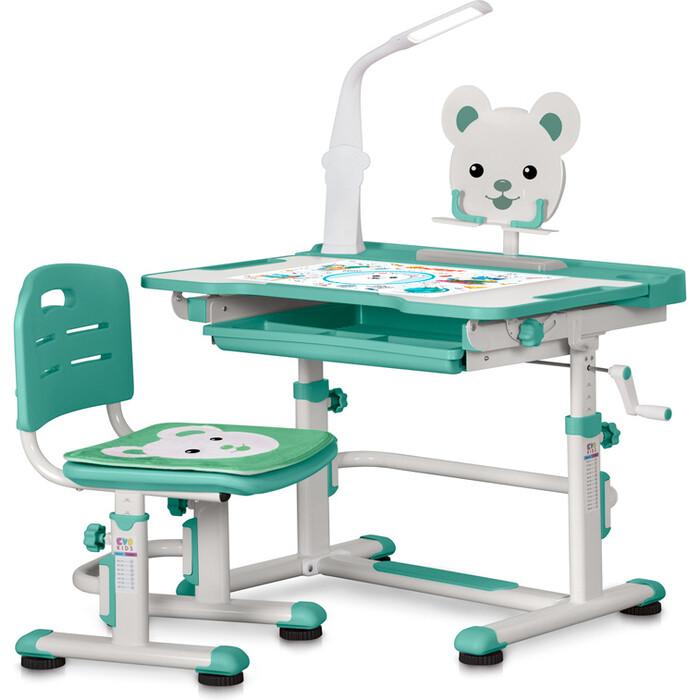 Комплект мебели (столик + стульчик) Mealux BD-04 XL Teddy WZ+Led green с лампой столешница белая/пластик зеленый