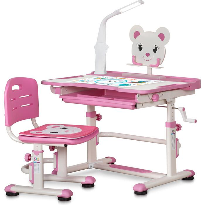 Комплект мебели (столик + стульчик) Mealux BD-04 XL Teddy WP+Led pink с лампой столешница белая/пластик розовый