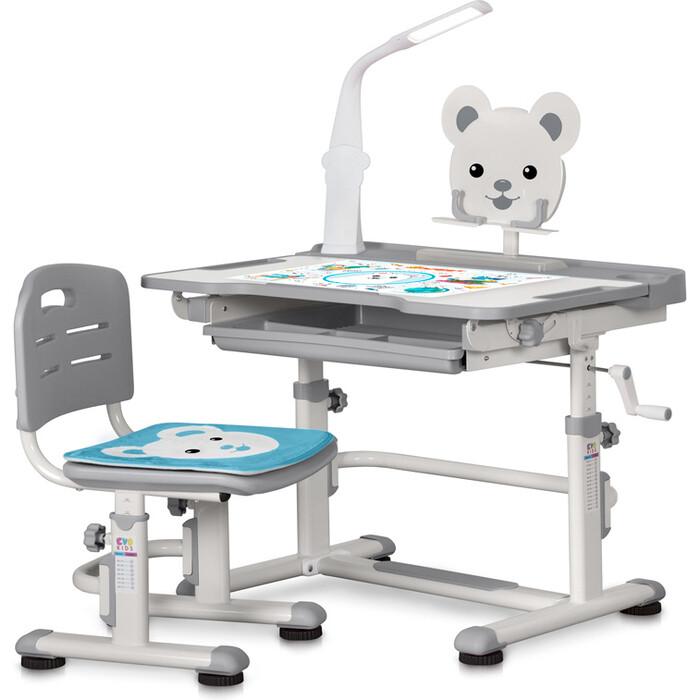 Комплект мебели (столик + стульчик) Mealux BD-04 XL Teddy WG+Led gray с лампой столешница белая/пластик серый