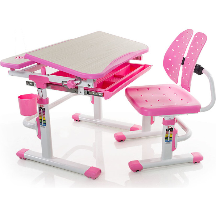 Комплект мебели (столик + стульчик) Mealux EVO-05 PN столешница клен/пластик розовый