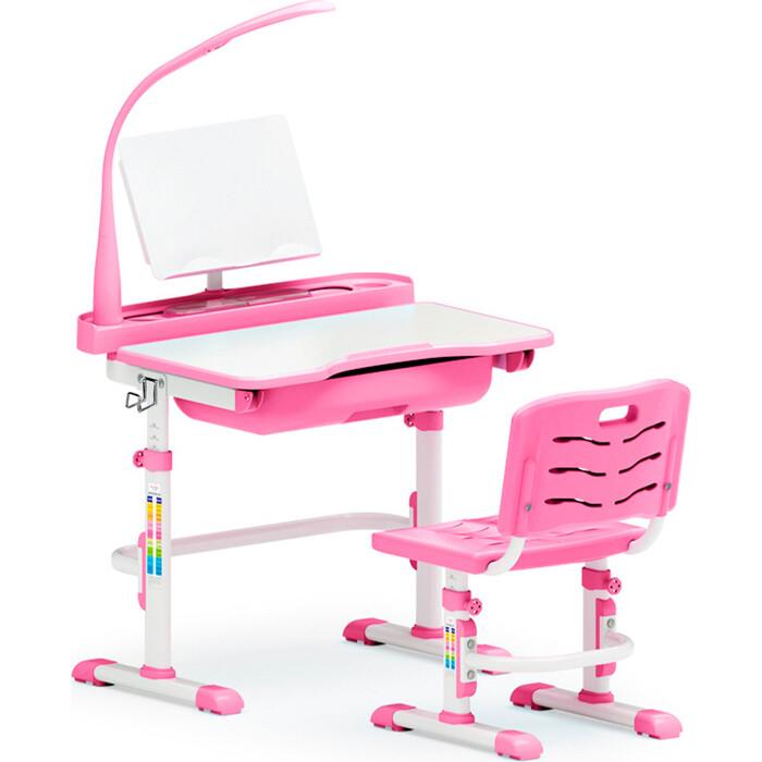 Комплект мебели (столик + стульчик лампа) Mealux EVO-17 PN столешница белая/пластик розовый