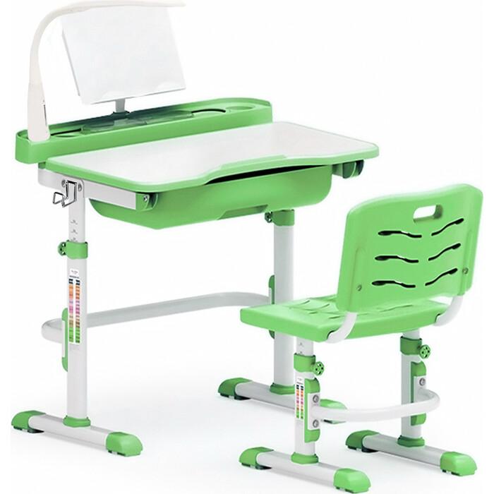 Комплект мебели (столик + стульчик лампа) Mealux EVO-17 Z с лампой столешница белая/пластик зеленый