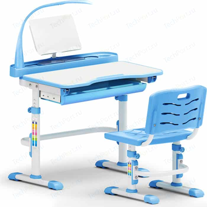 Комплект мебели (столик + стульчик лампа) Mealux EVO-18 BL столешница белая/пластик голубой