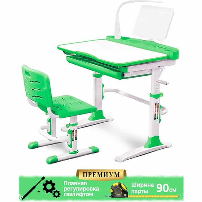 Комплект мебели (столик + стульчик лампа) Mealux EVO-19 Z с лампой столешница белая/пластик зеленый