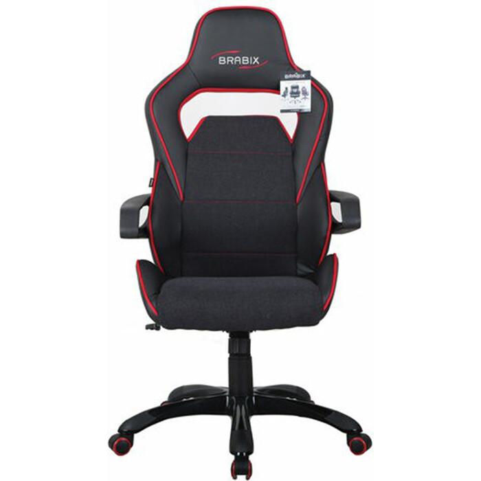 gm mc 001 2usb Кресло компьютерное Brabix Nitro GM-001 ткань/экокожа черное, вставки красные 531816