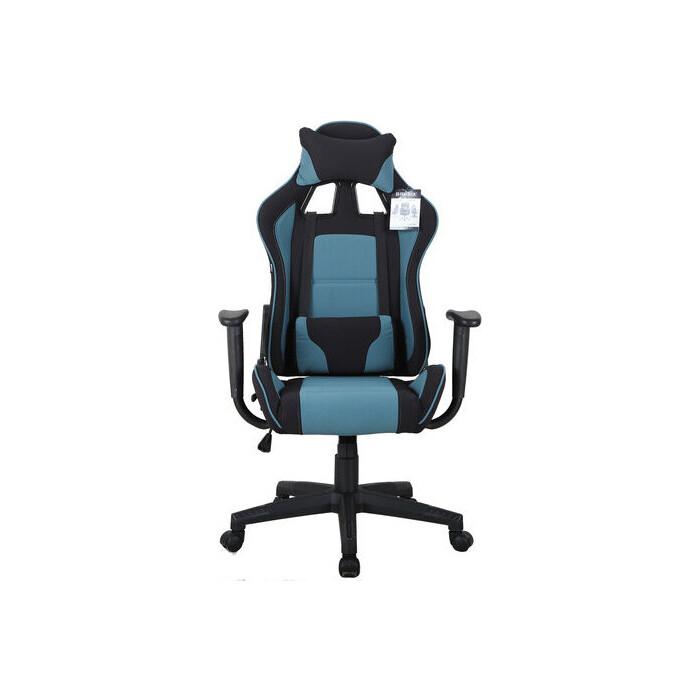 Кресло компьютерное Brabix GT Racer GM-100 две подушки, ткань, черное/голубое 531818
