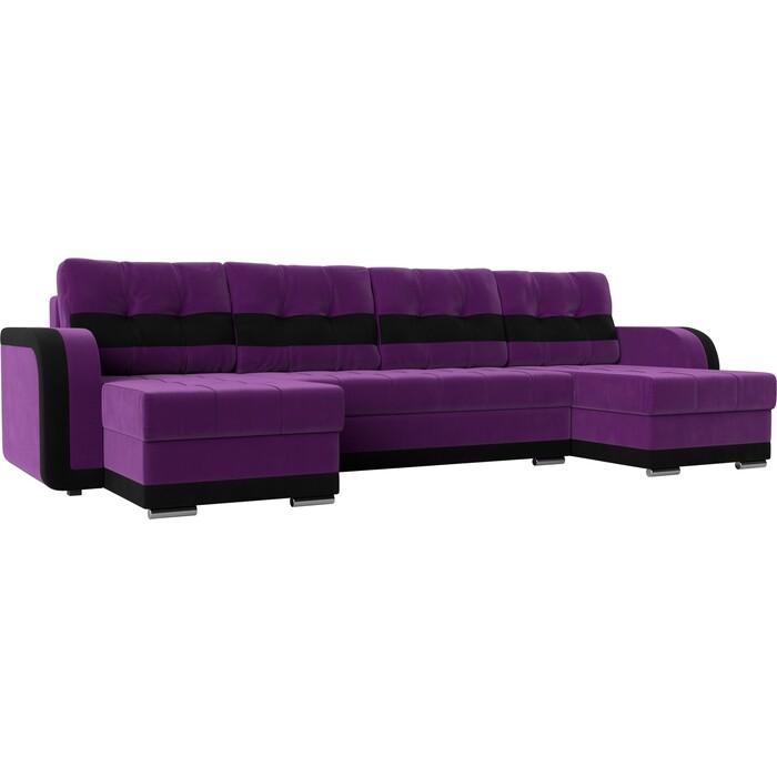 Диван АртМебель Марсель велюр черный фиолетовый П- образный