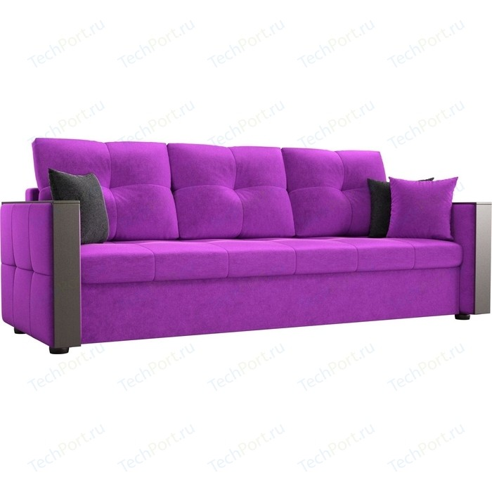 Диван прямой АртМебель Валенсия микровельвет фиолетовый