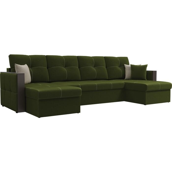 Диван АртМебель Валенсия микровельвет зеленый П-образный