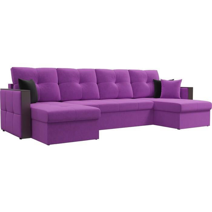 Диван АртМебель Валенсия микровельвет фиолетовый П-образный