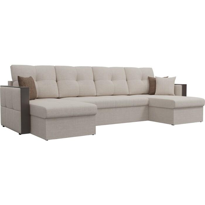 Фото - Диван АртМебель Валенсия рогожка бежевый П-образный диван артмебель валенсия рогожка серый п образный