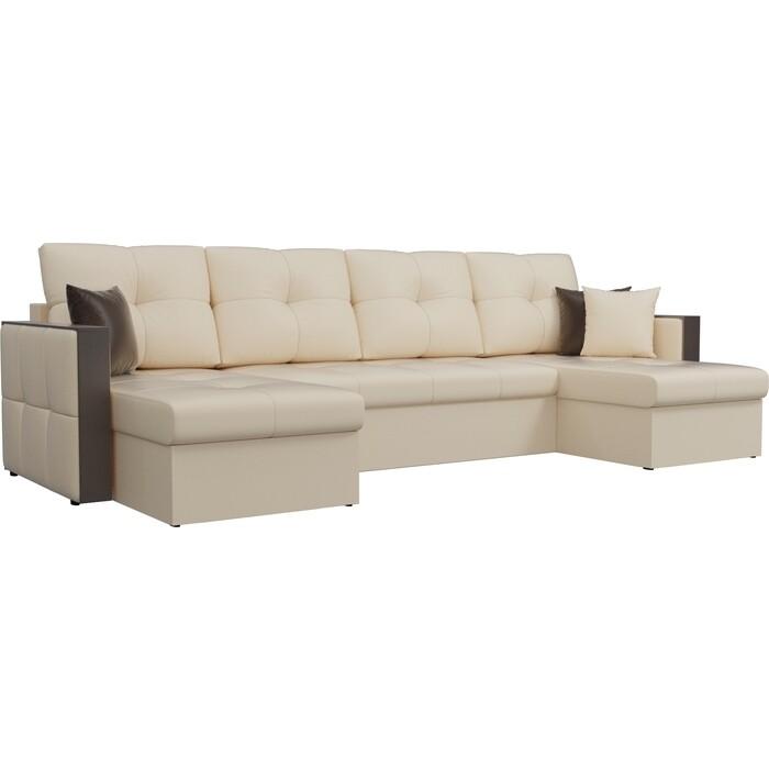 Фото - Диван АртМебель Валенсия экокожа бежевый П-образный диван артмебель валенсия рогожка серый п образный