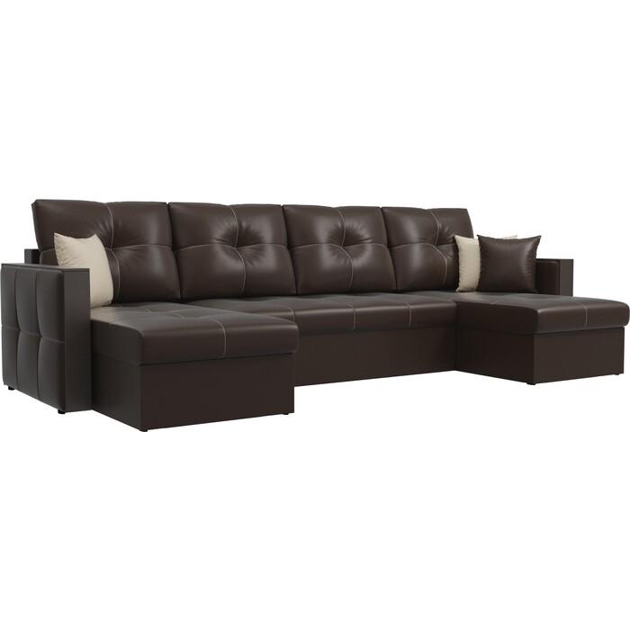Фото - Диван АртМебель Валенсия экокожа коричневый П-образный диван артмебель валенсия рогожка серый п образный