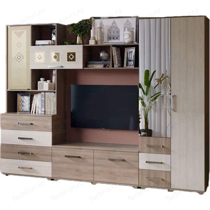 Модульная гостиная Миф Белла (центральня секция + шкаф 2-х дверный) ясень