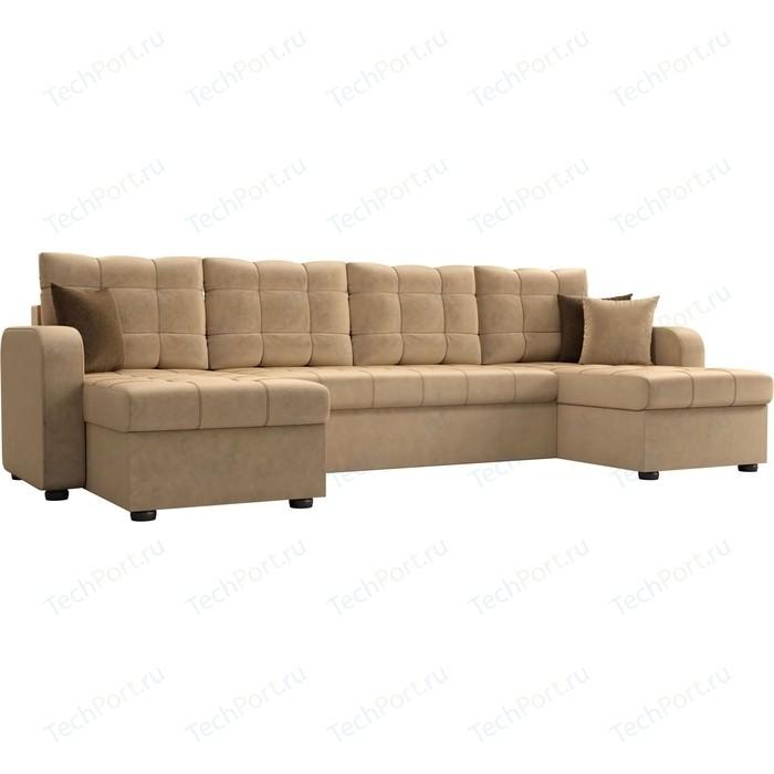Диван АртМебель Ливерпуль микровельвет бежевый П-образный диван диван ливерпуль п диван ливерпуль п