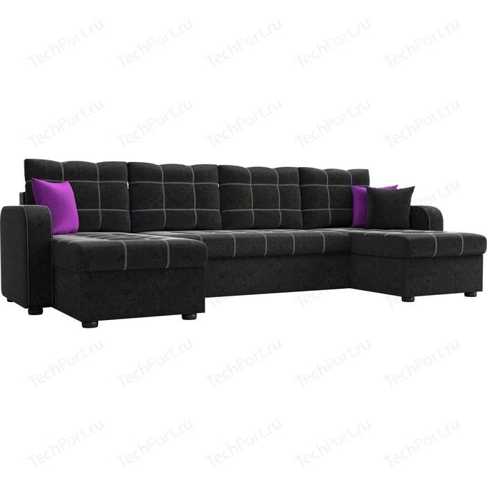 Диван АртМебель Ливерпуль микровельвет черный П-образный диван диван ливерпуль п диван ливерпуль п