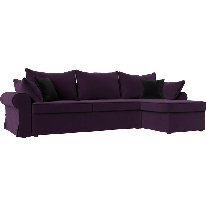 Фото - Диван угловой Лига Диванов Элис велюр фиолетовый с черными подушками правый угол диван угловой лига диванов элис велюр коричневый с бежевыми подушками правый угол