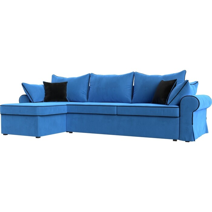 Диван угловой АртМебель Элис велюр голубой с черными подушками левый угол