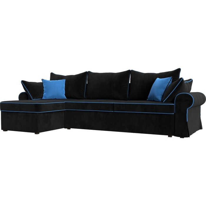 Фото - Диван угловой Лига Диванов Элис велюр черный с голубыми подушками левый угол диван угловой лига диванов элис велюр коричневый с бежевыми подушками правый угол