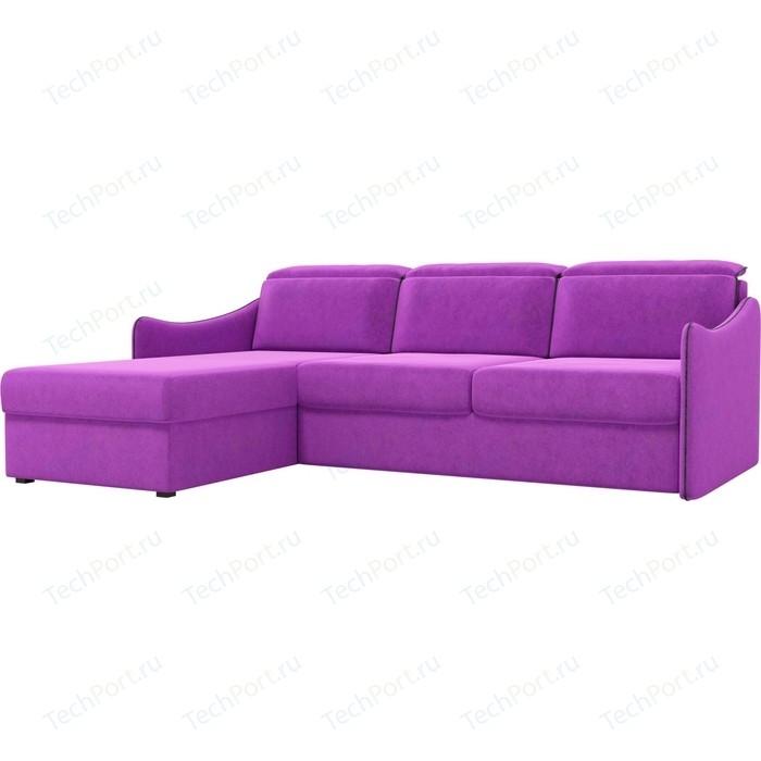 Диван угловой АртМебель Скарлетт вельвет фиолетовый левый угол