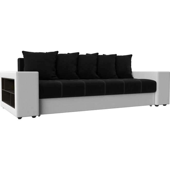 Фото - Диван прямой АртМебель Дубай микровельвет черный эко кожа белый кухонный прямой диван артмебель стоун эко кожа черный белый