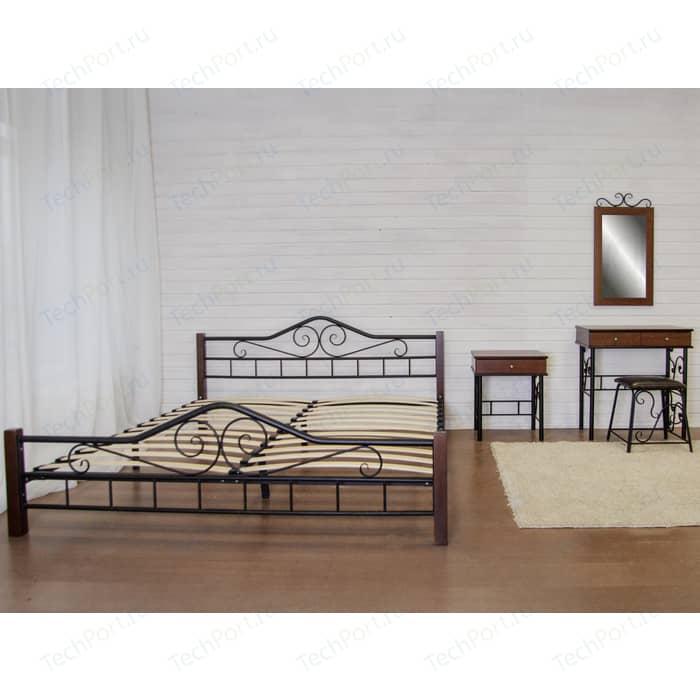Кровать Мебелик Сартон 1 (180) черный/средне-коричневый