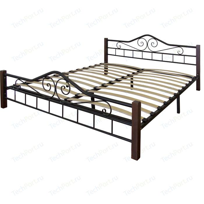 Кровать Мебелик Сартон 1 (160) черный/средне-коричневый